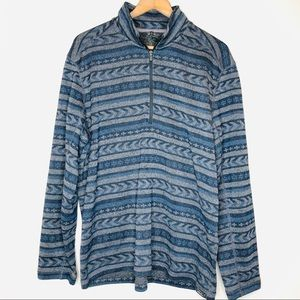 NWOT Eddie Bauer Half Zip Pullover Blue Aztec L